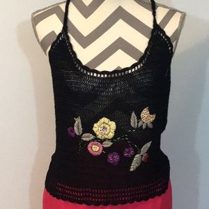 Evolution by Cyrus Black Knit Embroidered Tank